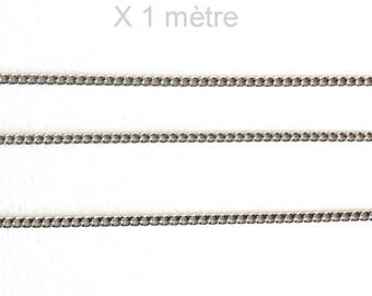 Small chain in silver fine mesh non welded X 1 meter