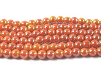 20 8 mm coral glass pearls