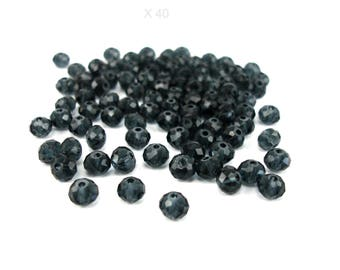 40 glass beads with 6 mm faceted, translucent black color