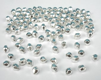 50 silver tone faceted metal beads