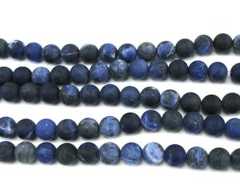 10 pearls round 8mm frosted Sodalite blue