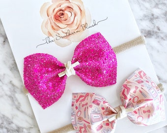 Ellie Glamour girl duo bow set made to order with Suede Tie.