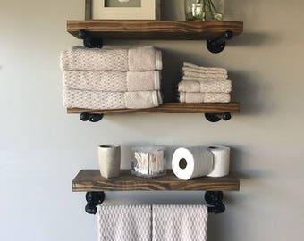 Rustic Floating Shelf W Towel Bar 7 1 4 Deep Or 9 Etsy