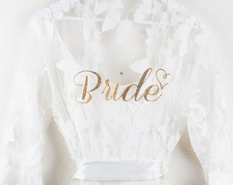 Leaf Lace Bridal Robe   Bride Robe   Bridesmaid Robe  Bridal Party Lace Bridal Shower Robe  Wedding Getting Ready Robe