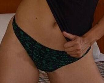 Cute Black-Thong-Green Cute Quotes Panties