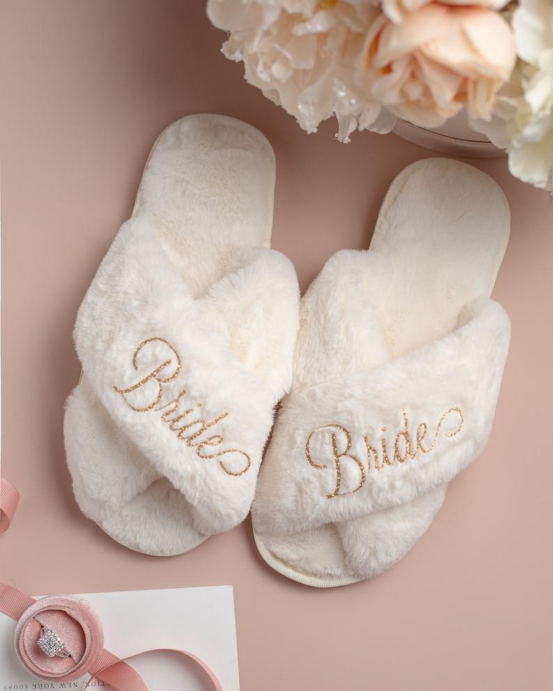 Personalized Bridal Slipper Bridesmaid Gifts Bridal Shower image 0