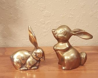Vintage brass bunny set.  Adorable retro bunny figurines.  Office decor.