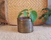 "Vintage brass planter.  5"" Boho Eclectic Weatherd Vintage Brass Planter"