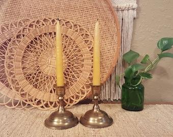 Vintage brass candlesticks.  Short vintage candlesticks