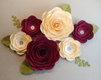 Paper flowers etsy customized set of 6 pcs 15 11 paper flowers baby girl nursery burgundy paper roses maroon paper flowers cream beige paper roses mightylinksfo