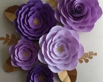 Purple paper flowers etsy 5 pc 16 11 purple paper flowers lilac paper flowers lavander paper flowers party decor purple paper roses purple party decor mightylinksfo