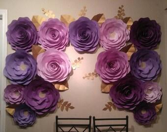 Purple paper flowers etsy customized 15 pc 15 11 purple paper flowers large paper roses mightylinksfo