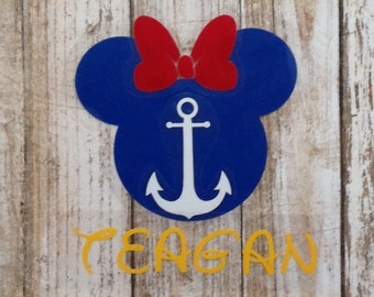 Captain Mickey/First Mate Minnie/Disney Cruise/Nautical/Iron On/Decal/Heat Transfer/Custom/Personalized/Name/Anchor/Glitter/Sailor/Line