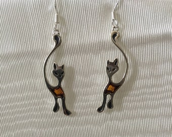 68ad847dd59c Silver and Cognac Baltic Amber Cat Earrings-925 Sterling Silver