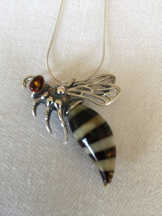 Gorgeous Baltic Amber Pendant Wasp with Silver 925