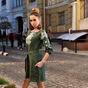 Ukrainian Pattern Boho Ethnic Vyshyvanka Vintage  Embroidered Balloon Long Sleeve  Maxi Full Dress Linen  With Belt
