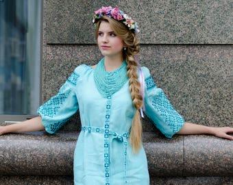 Linen Embroidered Dress Vyshyvanka Ukrainian Vyshyvanka Dress Women dress Gift for Girl