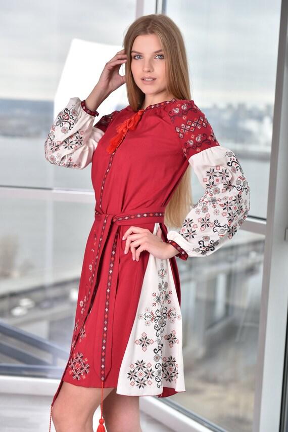 Ukrainian folk Dress Gift for Women Gift for Her Gift for ChristmasGift for ChristmasUkrainian vyshyvanka dress Boho Gift for Wife