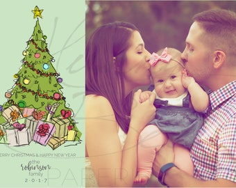 Family Couple Baby Photo Merry Christmas or Happy Holidays Card · Christmas Tree Sketch