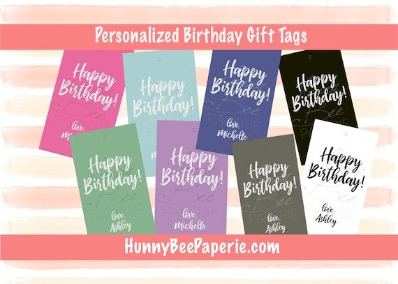 Personalized Happy Birthday Gift Card Gift Tag Stationery Etsy
