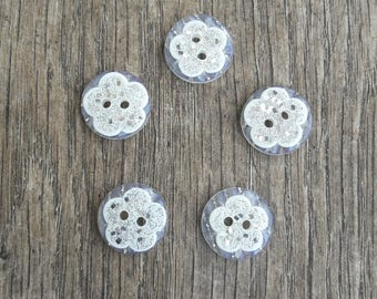 Set of 5 white buttons, sequins, Rhinestones, 15mm