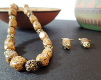 Brown Jasper Necklace with Earrings