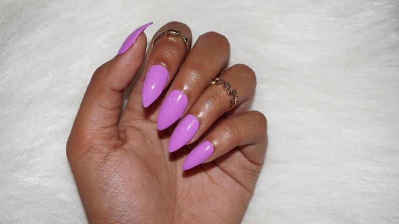 Light Purple Stiletto Press On Nails Fake Nails Faux Nails Etsy