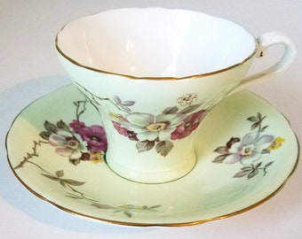 Aynsley Mint Green Floral Tea Cup and Saucer