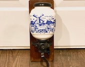 Delft Style Ceramic Windmill Wall-mounted Coffee Grinder