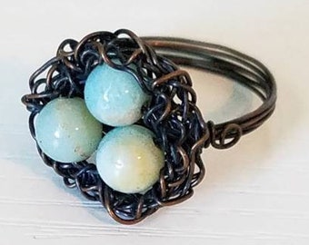 Wire and Bead Robin Egg Ring Sz 7.5
