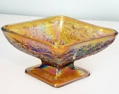 Diamond Shaped Amber Carnival Glass Candy Dish