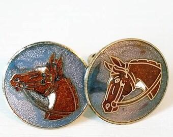 Cloisonne Equestrian Horse Cuff Links