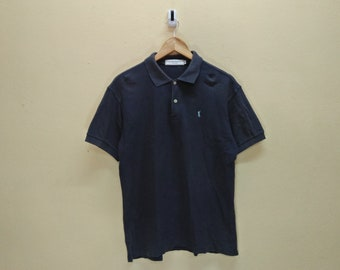 a8e69e77feb YSL YVES Saint Laurent Pour Homme Vintage Clothing Embroidered Logo Navy  Color Quarter Button Collared Short Sleeve M Medium Size Shirt Polo
