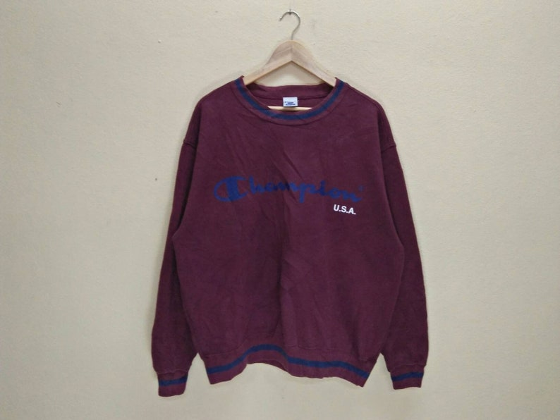 5e300e0a2 CHAMPION U.S.A Vintage Clothing Big Logo Spell Out Maroon | Etsy