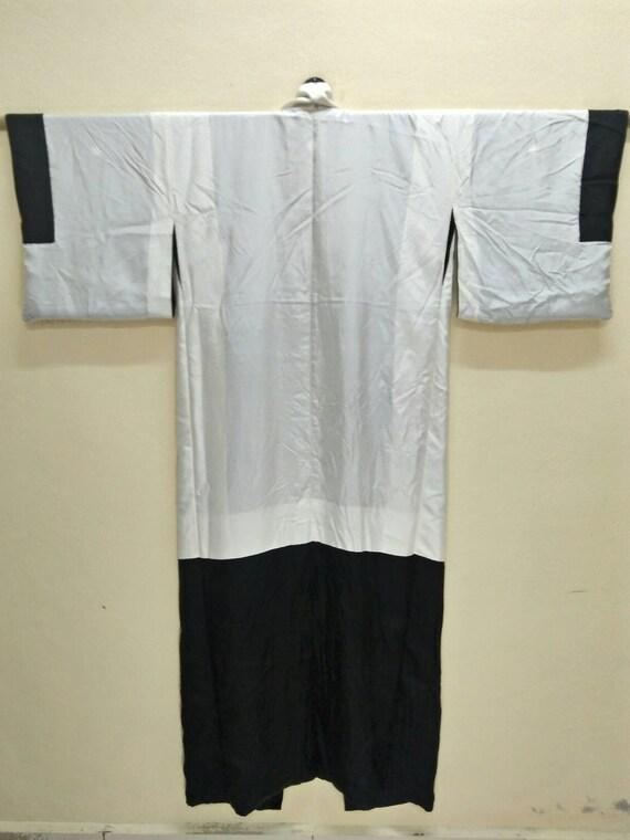 Noir blanc KIMONO traditionnel japonais vêtements Vintage Kuro Muji Muji Muji Tomesode Mofuku hommes couleur hiver été longues Robes. 547cc2