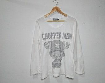 ONE PIECE ANIME Chopper Man Tony Chopper Vintage Clothing Crystal Big Logo White Color Long Sleeve Scoop Neck T-Shirt
