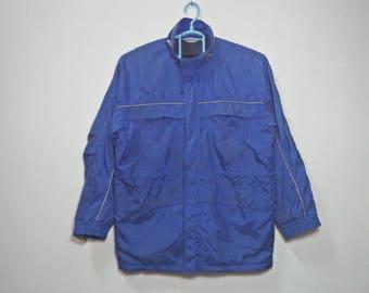 SUBARU Vintage Clothing Subaru Printed Logo Motorsports Clothing Blue Color Windbreaker Full-Zipper Jacket