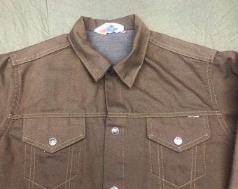 e8c32e2188b Vintage denim jacket, brown, Jean jacket, sears toughskins, 70s, 80s, trucker  jacket, large, unisex clothing from afterhoursdropbox on etsy