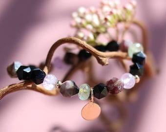 Women gemstone bracelet, healing stone bracelet, crystal healing, beaded bracelet, tourmaline, onyx, gold plated, silver, boho, PICCOLO 373