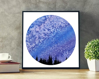 Celestial Watercolor, Night Sky Watercolor, Stars Print, Starry Night, Printable Art, Instant Download, Home Decor, Watercolour Painting