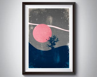 Pink Moon Print, Boho Decor, Celestial Art, Night Sky, Pink Blue Grey Art Poster, Bedroom Wall Art, Mountain Art, Moon Art, Boho Art