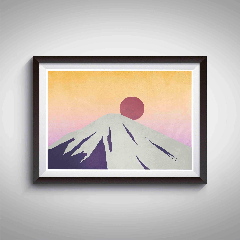 Mt Fuji Mountain Print Japanese Art Modern Art Zen Art   Etsy