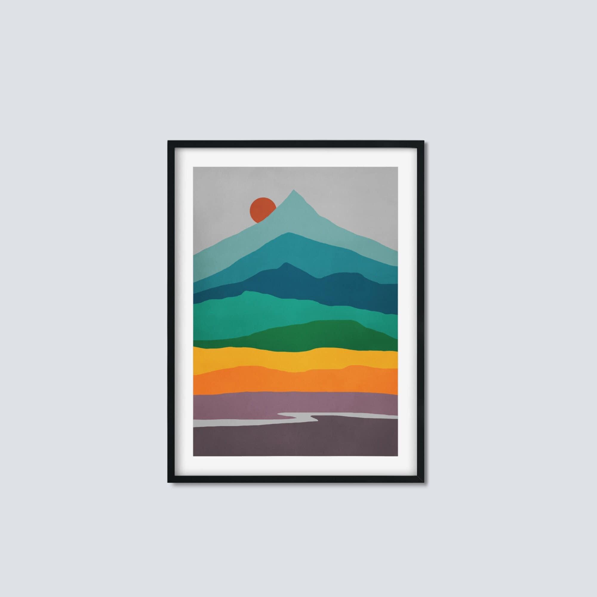 Mid Century Kunstdruck, Bergkunst, extra große Wandkunst, skandinavischer  Druck UNGERAHMT