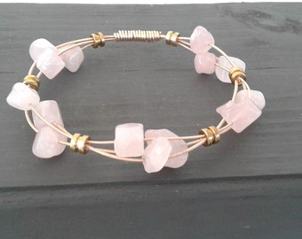 Rose Quartz Guitar String Bangle Bracelet/ Guitar String Jewelry/ Gemstone Bracelet