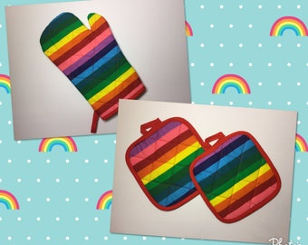 Rainbow Kitchen Oven Mitt and Pot Holder gift set   *Ready to Ship