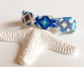 856fd0274e602 Geometric bracelet hippie macrame white grey blue Friendship Bracelet  patterns woven Brasilda