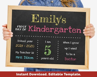 first day of school sign printable girls kindergarten chalkboard sign editable