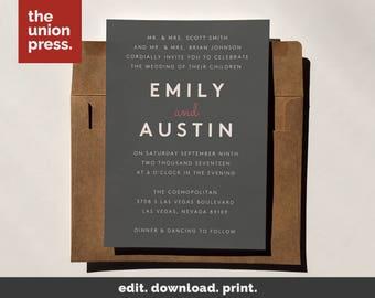 Grey Wedding Invites Etsy