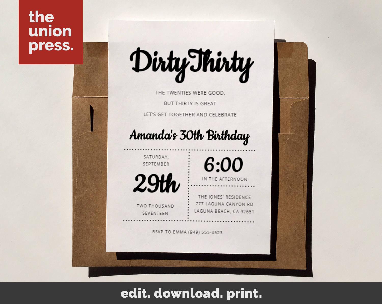 Dirty Thirty 30th Birthday Birthday Invitation Birthday | Etsy