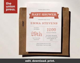 Baby Invitation, Baby Shower Invitation, Baby Invite, Baby Shower Invite, Baby Invitation Template, Baby Shower, It's a girl Invitation
